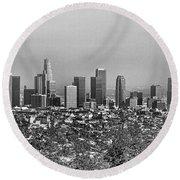Pano Los Angeles City Black White Round Beach Towel