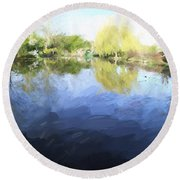 Panorama 2 Of Monets Garden In Giverny Round Beach Towel