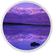 Panorama Badwater And The Panamint Range At Sunrise Death Valley Round Beach Towel