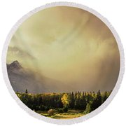 Panorama Clearing Storm Over The Grand Tetons Round Beach Towel