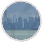 Panorama Dark Clouds Over New York City Round Beach Towel