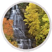 Panorama Fall Color Chapel Falls Upper Penninsula Mi Round Beach Towel
