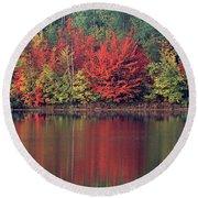 Panorama Fall Color Moccasin Lake Upper Peninsula Mi Round Beach Towel