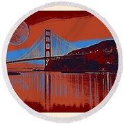 Panorama Golden Gate Bridge Landmark 2 Round Beach Towel