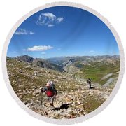 Panorama Looking Down Elk Creek From The Continental Divide - Weminuche Wilderness Round Beach Towel