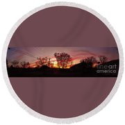 Panorama    Mid Winter Sunset In The City       Indiana Round Beach Towel