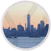 Panorama New York City Skyline At Sunrise Round Beach Towel