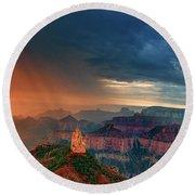 Panorama North Rim Grand Canyon Arizona Round Beach Towel