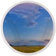Panorama Of A Colorful Sunset Round Beach Towel