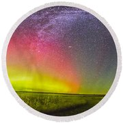 Panorama Of An Aurora And The Milky Way Round Beach Towel