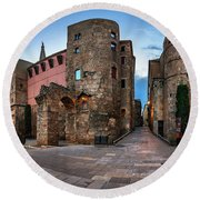 Panorama Of Ancient Roman Gate And Placa Nova In The Morning, Ba Round Beach Towel