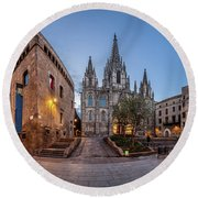 Panorama Of Cathedral Of The Holy Cross And Saint Eulalia In The Round Beach Towel