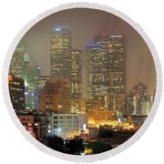 Panorama Of Downtown Los Angeles In The Fog Round Beach Towel