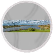 Panorama Of Gatineau, Quebec And Ottawa, Ontario Looking East On The Ottawa River Round Beach Towel