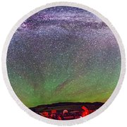 Panorama Of Milky Way Above The Table Round Beach Towel