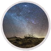 Panorama Of Milky Way And Zodiacal Round Beach Towel