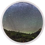 Panorama Of Milky Way Over Red Rock Round Beach Towel