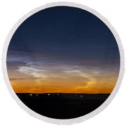 Panorama Of Noctilucent Clouds Round Beach Towel