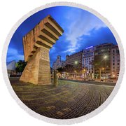 Panorama Of Placa De Catalunya In The Morning, Barcelona, Spain Round Beach Towel