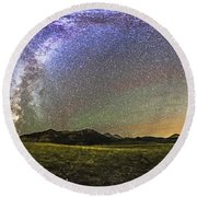Panorama Of The Milky Way And Night Sky Round Beach Towel