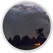 Panorama Of The Southern Night Sky Round Beach Towel