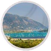Panorama On Greek Island Round Beach Towel