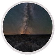 Panorama Point Milky Way Badlands  Round Beach Towel