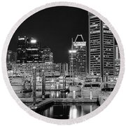 Panoramic Baltimore In Black And White Round Beach Towel