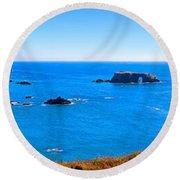 Panoramic California Coast Round Beach Towel
