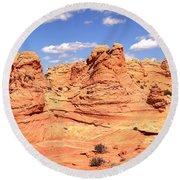 Panoramic Desert Landscape Fantasyland Round Beach Towel