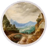 Panoramic Landscape With Travellers Round Beach Towel