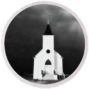 Panoramic Lightning Storm And Prairie Church 2 Round Beach Towel