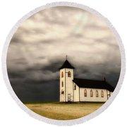 Panoramic Lightning Storm And Prairie Church Round Beach Towel