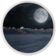 Panoramic Moonscape Round Beach Towel