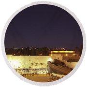 Panoramic Night View Of The Wailing Wall  Round Beach Towel