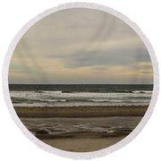 Panoramic Of Nantasket Beach Round Beach Towel