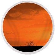 Panoramic Prairie Sunset Round Beach Towel