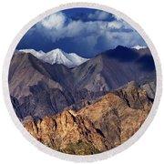 Panoramic Rocky Landscape Of Leh City Ladakh Jammu And Kashmir India Round Beach Towel