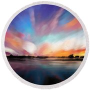 Panoramic Seascape Round Beach Towel