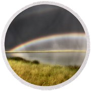 Panoramic Storm In The Marshes Round Beach Towel