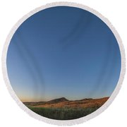 Panoramic Sunset At Grasslands National Round Beach Towel