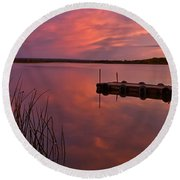 Panoramic Sunset Northern Lake Round Beach Towel