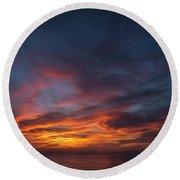 Panoramic Sunset Overtorrey Pines, San Diego Beach, California Round Beach Towel
