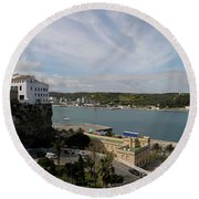 panoramic town 1  - Panorama of Mahon Menorca with old town and harbour Round Beach Towel