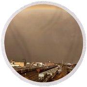 Panoramic Train Yard Storm Round Beach Towel