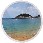Panoramic View Of Beautiful Beach, San Sebastian, Spain  Round Beach Towel