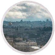 Panoramic View Of Old Jerusalem City Round Beach Towel
