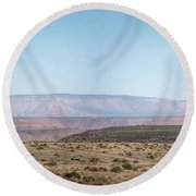 Panoramic View Of Open Desert Field In Nevada With Grand Canyon  Round Beach Towel