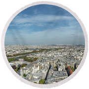 Panoramic View Of Paris From The Top Of The Tower Round Beach Towel