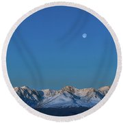 Panoramic View Of Plain At Root Of Mountains At Summer Night  Round Beach Towel